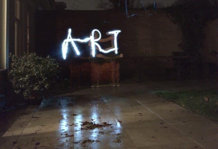 Light painting voorbeeld ART schrijven met licht