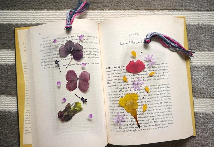 Boekenlegger droogbloemen