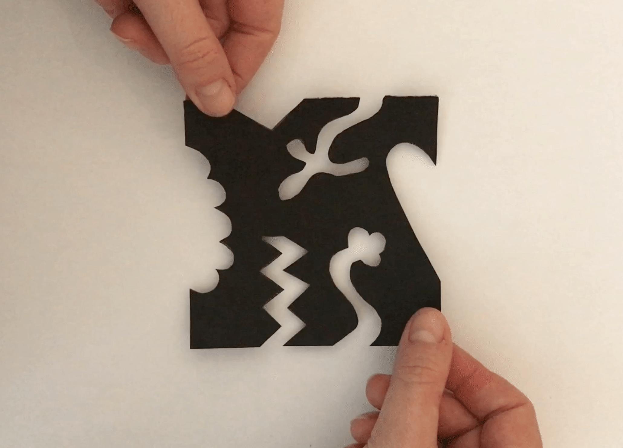 Notan art vierkant opplakken