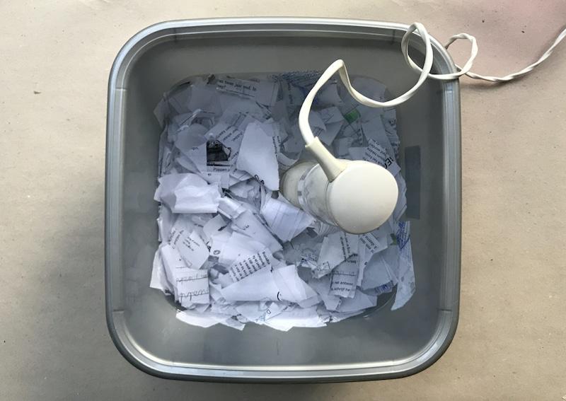 Papierpulp maken met staafmixer